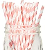 Just Artifacts - Decorative Paper Straws 100pcs - Striped Pattern - Light Pink - Click For More Colors! Paper Straws and Décor for Birthdays, Weddings, Baby Showers and Life Celebrations!