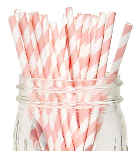 [Just Artifacts - Decorative Paper Straws 100pcs - Striped Pattern - Light Pink - Click For More Colors! Paper Straws and Décor for Birthdays, Weddings, Baby Showers and Life] (Drinking Hats With Straws)
