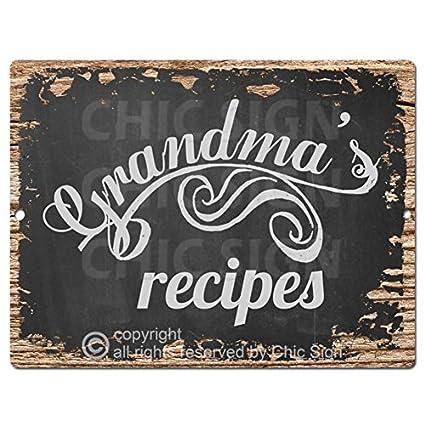 Amazon.com Chic Sign Grandma\u0027s Recipes Rustic Shabby