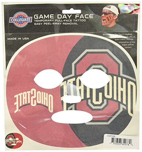 NCAA Ohio State Buckeyes Game Day Face Temporary Tattoo, Large -