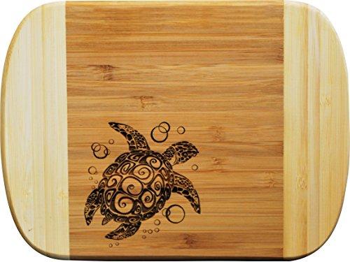 - All Things Sea Turtles Two-Tone Bamboo Bar Cutting Board, Sea Turtle, 6 x 8 (Small)