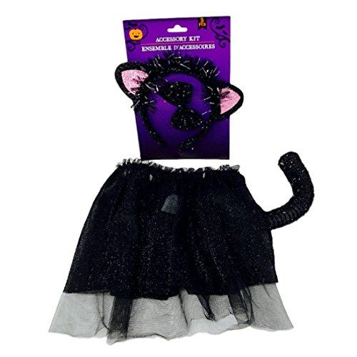 Black Cat Halloween Costume for Girls Glittery Skirt, Headband, Bowtie, Tail