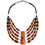 Amber Necklace - Cognac Baltic Amber Sterling Silver Statement Necklace by Famous Polish Designer