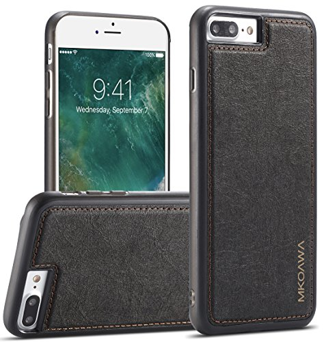Price comparison product image iphone 8 Plus Case ,  MKOAWA Apple iphone 7 Plus Case (5.5 inch) with Slim Leather Shockproof Protective hybrid Case For Apple iPhone 8 Plus (2017) / iPhone 7 Plus (2016) (Black)
