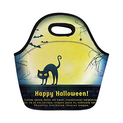 Semtomn Lunch Bags Happy Halloween Full Moon and Evil Cat Spooky Night Neoprene Lunch Bag Lunchbox Tote Bag Portable Picnic Bag Cooler -
