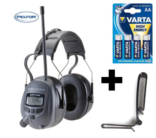 Original 3M PELTOR Optime 5, 29db Digital Radio Gehörschutz Kopfhörer mit MP3 Anschluss + Gürtelclip und 4x Varta Batterien