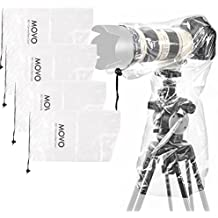 """Movo (5 Pack) RC1 Clear Rain Cover for DSLR Camera and Lens up to 18"""" Long"""