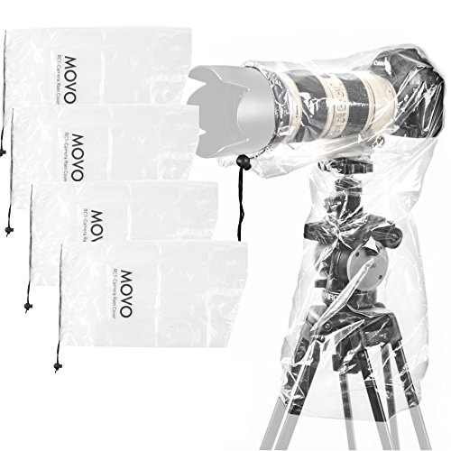 Movo (5 Pack) RC1 Clear Rain Cover for DSLR Camera and Lens up to 18'' Long by Movo