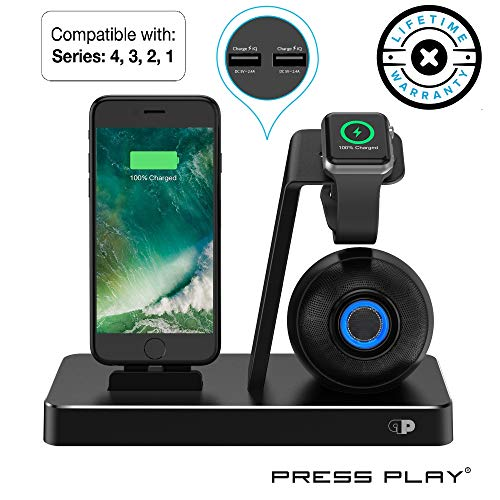 Press Play ONE Dock Beat [Apple Certified] Power Station + Wireless Speaker Dock, Stand & Charger for Apple Watch (Series 1,2,3,4 Nike+), iPhone & iPod w/Original Lightning Connector Built-in