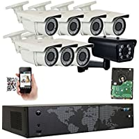 GW Security 8 Channel NVR H.265 License Plate PoE Security Camera System with 7 x 5MP 1920p 2.8-12mm Varifocal Bullet IP Camera and 1 x 3M 1536p IP License Plate Camera