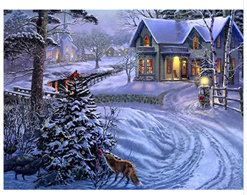 Agolong DIY Malen Nach Zahlen Schnee Landschaft Acrylgemälde Moderne Bild Home Decor Für Wohnzimmer Mit Rahmen 40x50cm B07LH33J81 | Neuer Stil