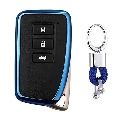 Azul Funda de TPU Suave para Llave + Llavero para Coche Lexus IS ES GS LS NX RS GX LX RC LC RX 2/3/4-Buttons
