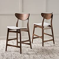 Helen Fabric Natural Wood Finish Counter Chair (Set of 2) (Light Beige/Walnut)
