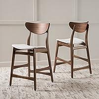 Helen Fabric Natural Wood Finish Counter Chair (Set of 2) (Light Beige/Walnut)