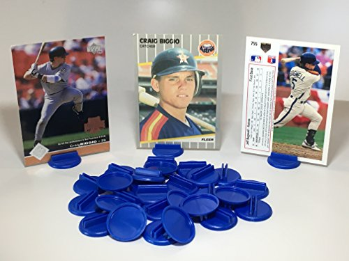 Baseball Card Stand Holder for Trading cards, Place Cards, Business Cards, Football Cards, Basketball Cards, Hockey Cards, and Board Game Cards: Display 30 Cards with Blue Round Card Stands by Card Stands