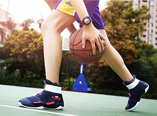 Scarpe Da Ginnastica Da Uomo E Da Donna Autunno Nuove Ammortizzanti Traspiranti Scarpe Da Basket Alte Top Modelli Paio Blu Scuro