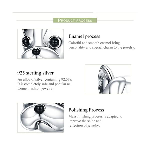 5ee9a32a389 Forever Queen Dog Charm, 925 Sterling Silver Cute Loyal Partners French  BULLDOG Doggy Animal Pet Bead Charms fit Pandora Charms for Pandora  Bracelets ...