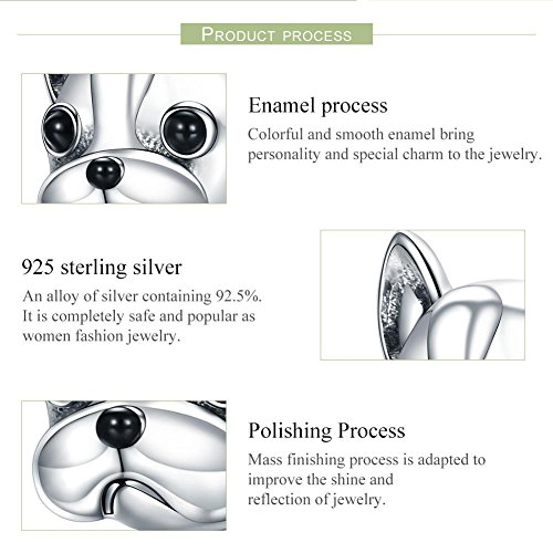 Forever Queen Dog Charm, 925 Sterling Silver Cute Loyal Partners French BULLDOG Doggy Animal Pet Bead Charms fit Pandora Charms for Pandora Bracelets Jewelry, Animal Lovers BJ09001 by Forever Queen (Image #2)