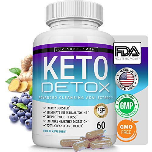 Lux Supplement Keto Detox Pills Advanced Cleansing Extract - 1532 Mg Natural Acai Colon Cleanser Formula Using Ketosis & Ketogenic Diet, Flush Toxins & Excess Waste, for Men Women, 60 Capsules
