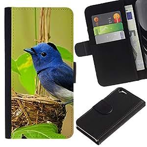 Apple (4.7 inches!!!) iPhone 6 Modelo colorido cuero carpeta tirón caso cubierta piel Holster Funda protección - Blue Bird Green Nest Spring Nature