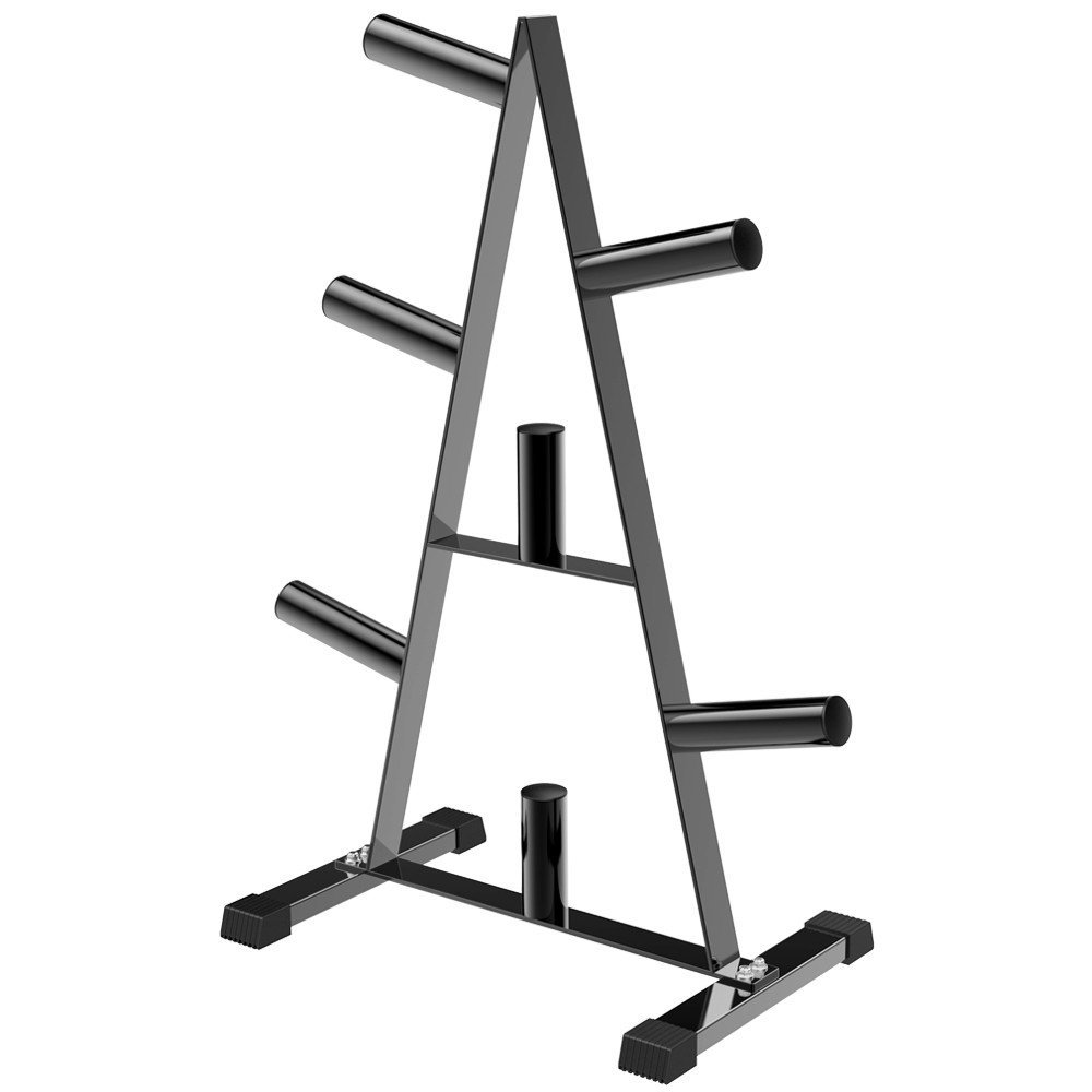 Topeakmart 2 Inch Barbell Plate and Dumbbell Rack 500lbs, Weight Plate Storage Organizer Black