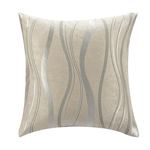 Pillow Pigeon - PASSENGER PIGEON Modern Beige Striped Polyester Wave Line Pillow Cushion Cover Pillowcase (18