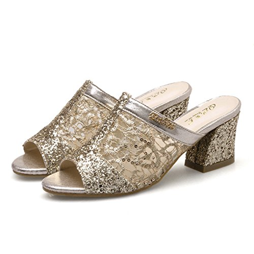 Zarbrina Womens Chunky Mid Heels Sandals Ladies Sequins Mesh Open Toe Breathable Cute Soft Slides Shoes - Ladies Shoes Golden
