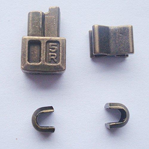 Bronze 5 sets #10 Metal zipper retainer box and zipper insertion pin,bottom sliders zipper insertion pin repair kit replacement