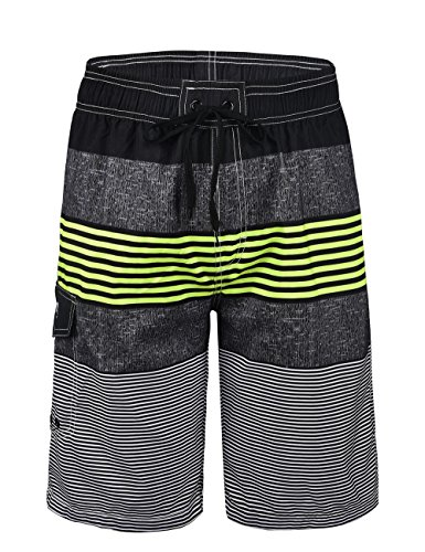 Nonwe Men's Swimwear Quick Dry Striped Beach Shorts Striped Lemon 30