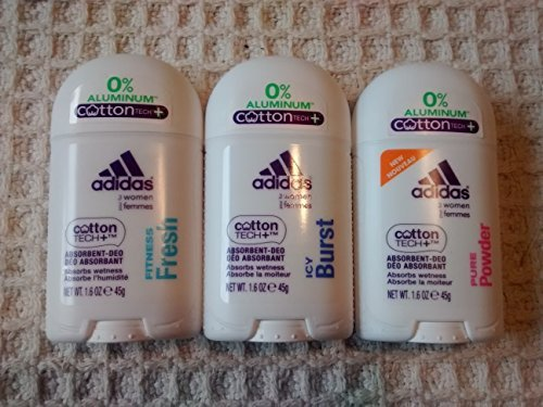 Adidas Natural - Adidas Deodorant for Women Multi Pack of Aluminum Free Fitness Fresh, Pure Powder and Icy Burst Deodorants 1.6 Oz Size