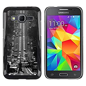 LECELL--Funda protectora / Cubierta / Piel For Samsung Galaxy Core Prime SM-G360 -- Fransisco Black White Vintage Trolly --