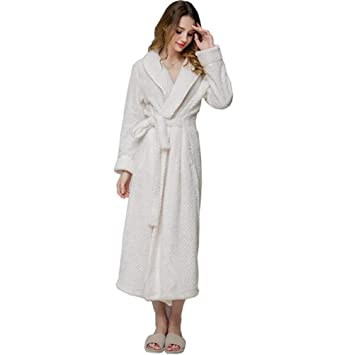 SHANGXIAN Largo Bata Baño Homewear Vestido Mujeres/Hombres Albornoz Franela Camisón Calentar Batas De Baño,White(Female),L: Amazon.es: Hogar