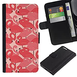 All Phone Most Case / Oferta Especial Cáscara Funda de cuero Monedero Cubierta de proteccion Caso / Wallet Case for Apple Iphone 6 PLUS 5.5 // Flamingo Pink Flock Bird Miami Peach