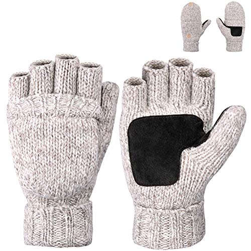 (Maylisacc Winter Thick Wool Blended Fingerless Gloves for Men Half Finger Convertible Mittens with Fleece Lining Beige)