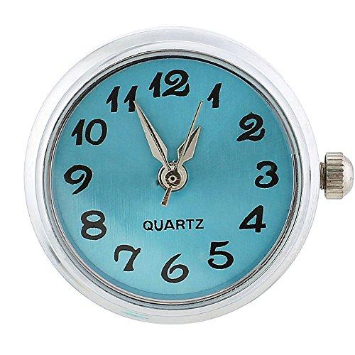 Lovmoment Watch Round Snap Button Charms Interchangeable Jewelry Quartz Face Watch (Cyan)