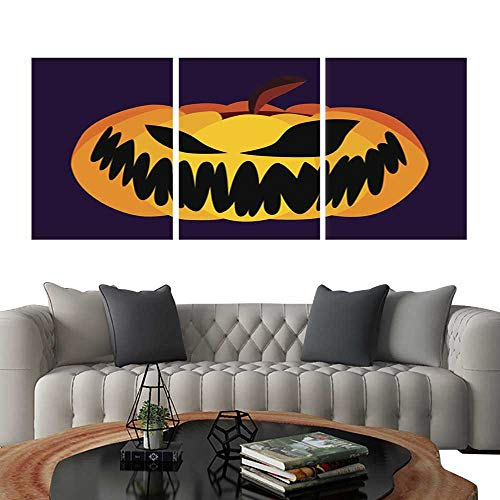 (UHOO Triptych Art SetIsolated Vector Yellow Orange Festive Scary Halloween Pumpkin Icon1. Modern Wall Art for Living Room Decoration)