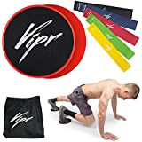 Core Sliders & 5 Resistance Loops Bands | Gliding Discs & Exercise Band Set for Intense Exercises | Professional Beachbody 80 Day Obsession Equipment for Home & Gym | Build Strength & Flexibility