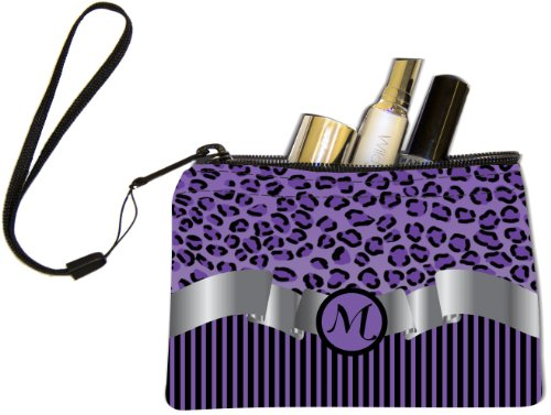 "Rikki Knight Letter ""M"" Purple Leopard Print Stripes Mono..."