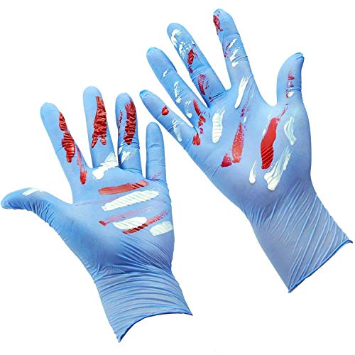 Kids Disposable Nitrile Gloves for 7-14 Years Students - Powder free, Latex Free, Odorless, Food Grade, Allergy Free, Textured Finger- 4 mils 100PCS Blue by ZOMCHAIN