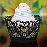 Muxika 25Pcs Hollow Lace Cup Muffin Cake Paper Case Wraps Cupcake Wrapper for Wedding Birthday Festival Party Decoration DIY Cupcake (Black)