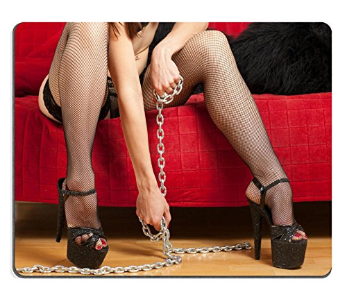 Price comparison product image Liili Mouse Pad Natural Rubber Mousepad IMAGE ID: 22549812 young woman in stockings sitting on a couch and holding a steel chain