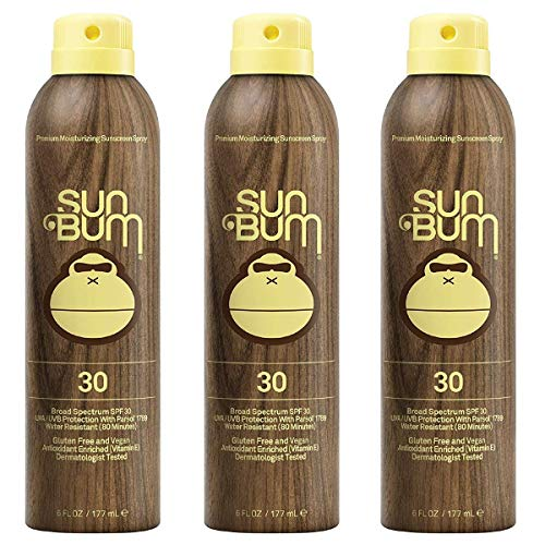 - Sun Bum Original Moisturizing Sunscreen Spray, 6 oz Bottle, Broad Spectrum UVA/UVB Protection, 3 Count