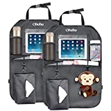 Ohuhu Kick Mats Car Backseat Organizer, 2-Pack XL Baby Child Kids Auto Back of Seat Protector with 1 Tissue Box, Clear iPad Holder, 3 Storage Bags, Vehicle Waterproof Seat Back Kick Protectors