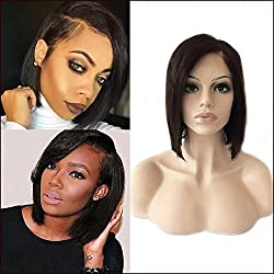 Short Bob Lace Front Wigs with Bangs Off Black Side Part Human Hair Lace Frontal Wigs Glueless Shoulder Length Human Hair Wig for Black Women Straight Hair 8'' 1B Natural Black