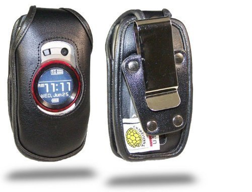 Turtleback Heavy Duty Black Leather Case for Casio GzOne Boulder C711 Flip Phone with Rotating Belt Clip