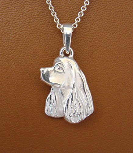 Sterling Silver Cocker Spaniel Head Study Pendant