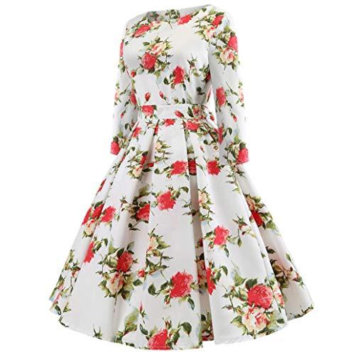 Adeshop plisada Rojo Manga Cuello Casual Slim Elegante Hepburn Grande Quarter redondo Vestido Seven Vintage larga Falda Mujeres Chic Fiesta Imprimir rrwzTq