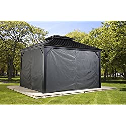Sojag Polyester Gazebos Curtains for Messina Hard Top Sun Shelter, 10' x 12', Grey