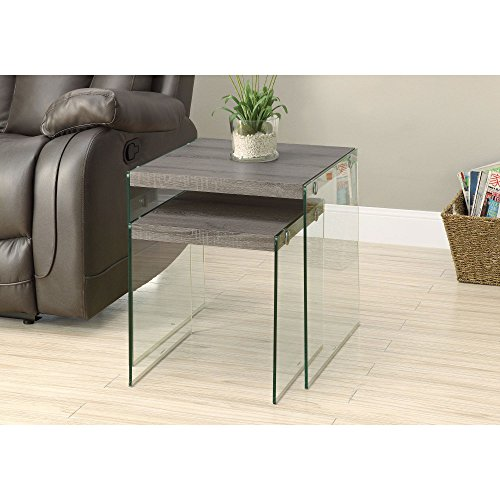 Monarch Specialties I 3053,Nesting Table, Tempered Glass, Dark Taupe by Monarch Specialties (Image #2)