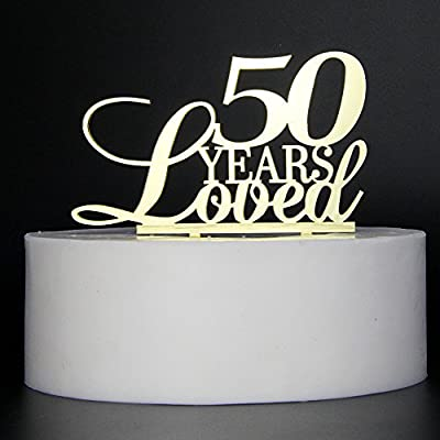 LOVELY BITON Gold 50 Years Loved Cake Topper Shining Numbers Letters for Wedding, Birthday, Anniversary, Party.